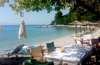 Panormos Beach and the restaurant